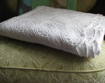 Vintage White Egyptian Cotton Bedspread - Imported From Portugal