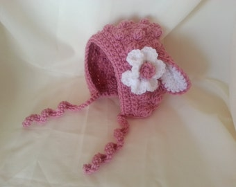 Crochet Little Lamb Bonnet-BabyGirl Bonnet-Adult Bonnet-Kids Photography Prop-Toddler Lamb Bonnett-W/Flower Pin