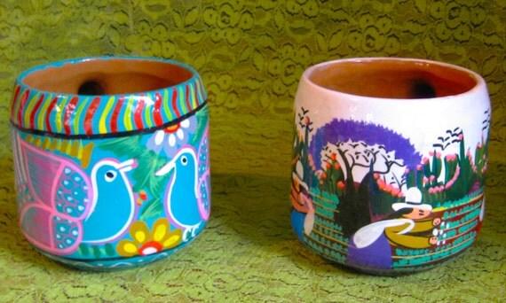 TAKE 20% off Sale TWO Mexican Folk Art Enamel Clay MUGS