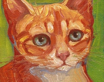 Orange tabby kitten cat portrait. Commissions available