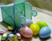 Green Plastic Canvas Chinese Take Out Container With Six Candy Filled Easter Eggs