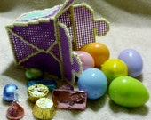 Purple Plastic Canvas Chinese Take Out Container With Six Candy Filled Easter Eggs