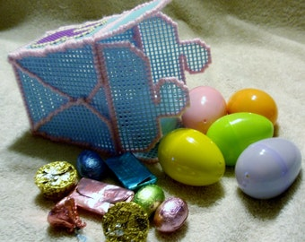 Blue Plastic Canvas Chinese Take Out Container With Six Candy Filled Easter Eggs