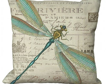 Aqua and Gold Dragonfly in Choice of 14x14 16x16 18x18 20x20 22x22 24x24 26x26 inch Pillow Cover