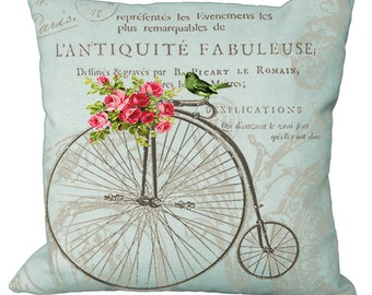 Aqua Backround Antique Bike Pink Roses & Bird on French Document in Choice of 14x14 16x16 18x18 20x20 22x22 24x24 26x26 inch Pillow Cover