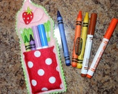 In The Hoop Strawberry Cupcake Crayon Pouch Embroidery Machine Design