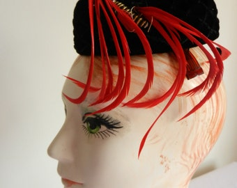 Black Velvet Hat with Red Feather by Sylvia of Chicago