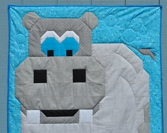 Hippo Baby Quilt Pattern in multiple sizes - PDF