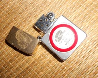 """Lighter Vintage Advertising Lighter """"Spruance Fine Finishes""""  Raised Red Lucite Logo Emblem"""