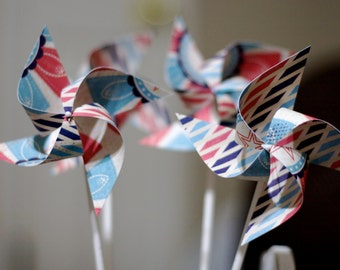 Little red wagon party Nautical Circus red and blue Favors 12 Mini Pinwheels (Custom orders welcomed)