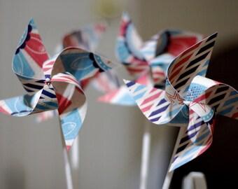 Nautical Circus red and blue Favors 12 Mini Pinwheels (Custom orders welcomed)