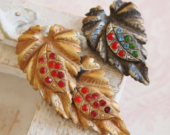 Vintage Set of Rhinestone Leaf Dress Clips