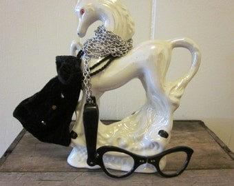 Vintage Lorgnette Folding Cat Eye Glasses on a Long Chain with a Black Velvet Pouch