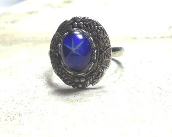 Adjustable Ring, German Vintage Blue Star Glass Cabochon Ring, Antique Silver Setting, Womens Ring