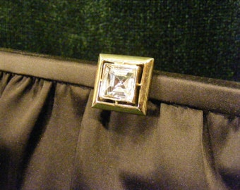 Black Tuxedo Satin Formal Purse with Rhinestone Detail