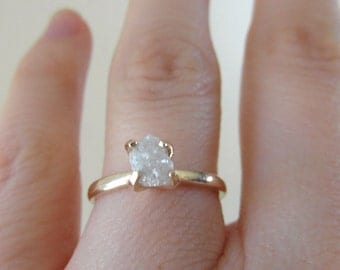 Mounted raw rough uncut -snow white-diamond - solitaire-promise- engagement ring-Made to order