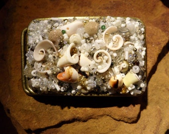 Vintage Beaded Shell Belt Buckle