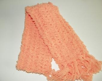 Peach Fizz  Scarf Soft  Sizes 2-12 Years  Hand Crochet Extra Soft