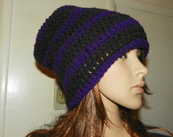 Slouch Hat Beautiful Purple and Black Slouchy Hat  for a Teen or Adult