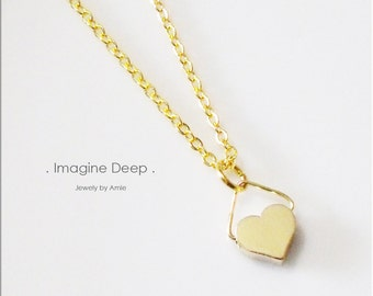 50% off SPECIAL - Heart Pendant Necklace Gold - 18 inch - Gold Plated Heart Necklace - Yellow Gold