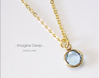 50% off SPECIAL - Sky Light Blue Pendant Necklace - 17 inch Gold Plated Soft Baby Sky Blue Swarovski Crystal