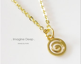 50% off SPECIAL - Pendant Necklace - 17 inch Gold Plated Swirl Design Necklace