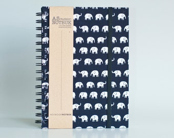 Notebook with Elastic Band Closure, Fabric Wrapped (A5 Size) - Elephants (choose from line / blank sheets)