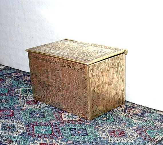 Medieval Chest, Brass, Dollhouse Miniature 1/12 scale