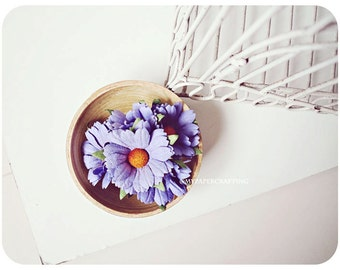 Daisy Purple Mulberry paper flower / pack