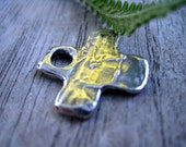 RESERVED for Kim One Sterling Silver Artisan Oxidized Cross Charm with Jump Ring