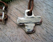 Rustic Artisan Cross Sterling Necklace on Leather Strand