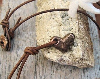 Rustic Artisan Heart Bronze Necklace with Bronze Button