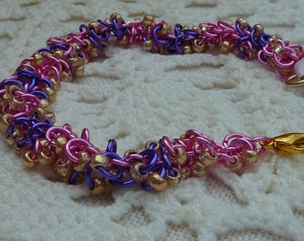 SALE Bracelet: beaded shaggy chainmaille in feminine pink, lilac and gold