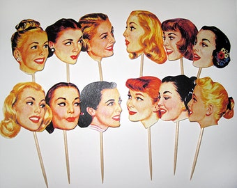 1950s Housewife Cupcake Toppers - Vintage 50s Ladies Cake Toppers - Set of 12