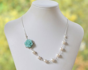 Pale Blue Rose Asymmetrical Bridesmaid Necklace with White Swarovski Pearls. Bridal Jewelry. Blue Bridesmaids Gifts