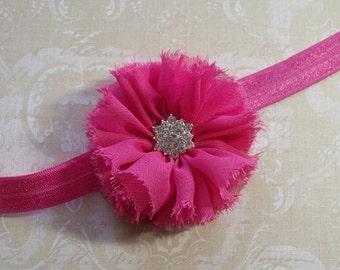Baby Headband  Chiffon Shabby Chic Flower- Hot Pink with Rhinestone Center