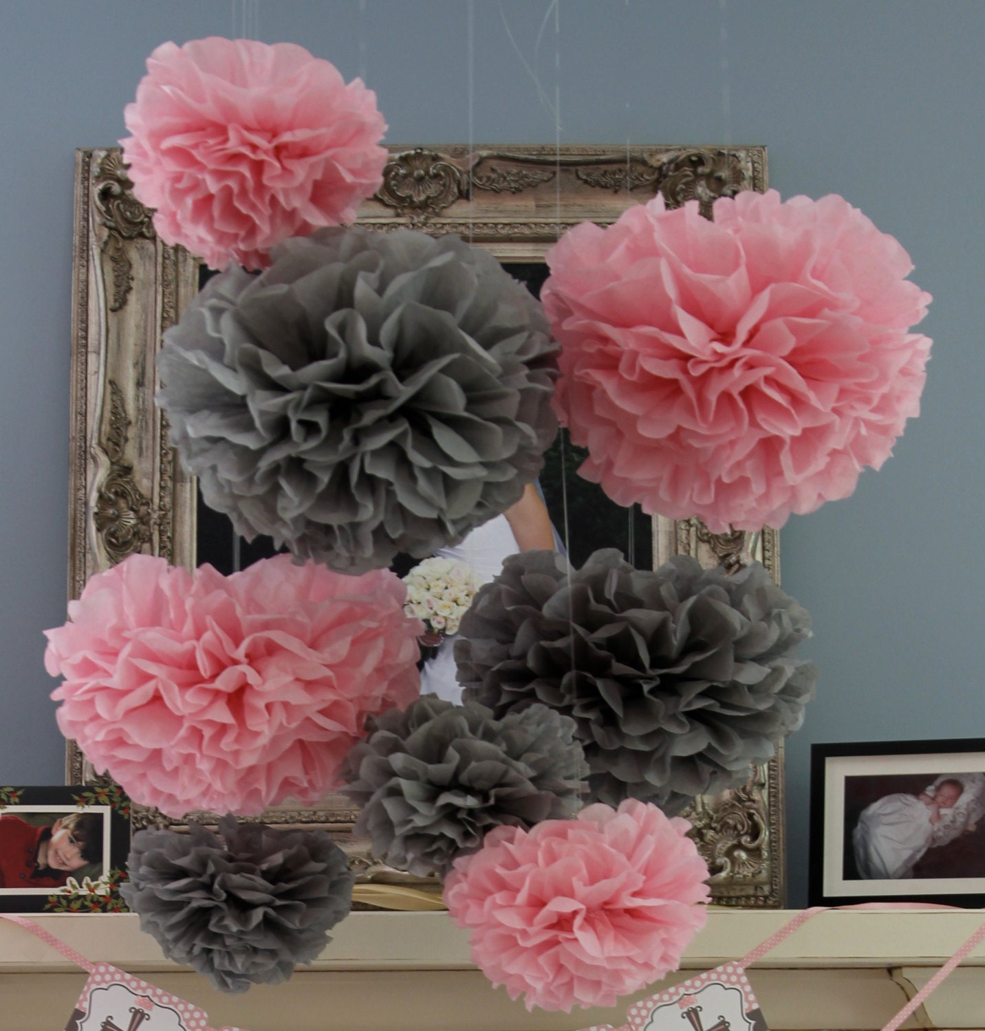 30 Tissue Pom Poms Your Color Choice Sale Pink And Gray