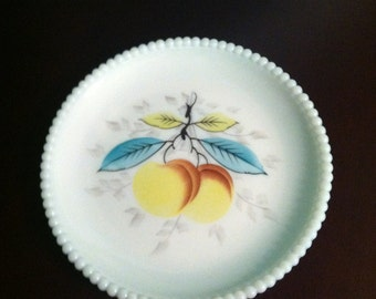 Westmoreland Milk Glass Beaded Edge Plate Peach
