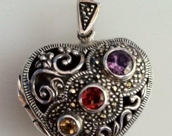 Vintage Sterling Silver Heart Locket Pendant Marcasite and Semi Precious Stones
