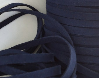 6yds Faux Suede leather Micro Fiber Dark Blue Jewelry Thick Cord  Lace 5mm x 1.5mm Fabric chain Lacing