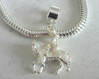 LADY GODIVA on HORSEBACK Sterling Silver Historical Charm Fits All Slide On Bracelets