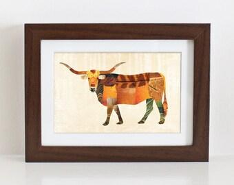 Longhorn Bull Print