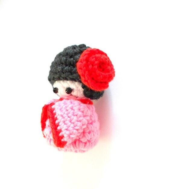 Amigurumi Yarn Pack : Amigurumi Kokeshi crochet doll Bag charm Phone charm Pink ...