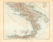 1895 Original Antique Dated Map of Southern Italy at the end of 19th Century