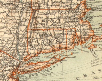 1905 Antique Dated Map of the Mid-Atlantic States of the United States
