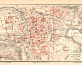 1907 Original Antique City Map of Würzburg in Bavaria, Germany
