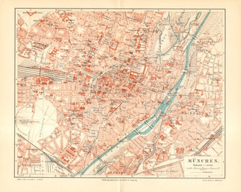 1905 Original Antique City Map of Munich, the Capital of Bavaria