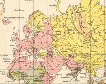 1905 Original Antique Ethnographic Map of the World