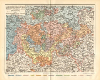 1898 Original Antique Dated Map of the Ernestine or Saxon Duchies at the End of the 19th Century