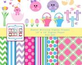 Easter Clip Art Digital Graphics - Easter Bunny Basket - Digital Paper Pack - INSTANT DOWNLOAD